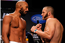 MONTREAL, CANADA - NOVEMBER 16:  (L-R) Opponents Cyrille Diabate and Chad Griggs face off during the official UFC 154 weigh in at New City Gas on November 16, 2012 in Montreal, Quebec, Canada.  (Photo by Josh Hedges/Zuffa LLC/Zuffa LLC via Getty Images)