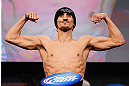 MONTREAL, CANADA - NOVEMBER 16:  Pablo Garza weighs in during the official UFC 154 weigh in at New City Gas on November 16, 2012 in Montreal, Quebec, Canada.  (Photo by Josh Hedges/Zuffa LLC/Zuffa LLC via Getty Images)