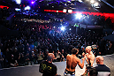 MONTREAL, CANADA - NOVEMBER 16: (L-R) Opponents Johny Hendricks and Martin Kampmann face off during the official UFC 154 weigh in at New City Gas on November 16, 2012 in Montreal, Quebec, Canada. (Photo by Josh Hedges/Zuffa LLC/Zuffa LLC via Getty Images)