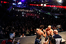 MONTREAL, CANADA - NOVEMBER 16: (R-L) opponents Georges St-Pierre and Carlos Condit face off during the official UFC 154 weigh in at New City Gas on November 16, 2012 in Montreal, Quebec, Canada. (Photo by Josh Hedges/Zuffa LLC/Zuffa LLC via Getty Images)