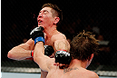 MONTREAL, QC - NOVEMBER 17:  Darren Elkins (R) connects on a punch to the face of Steven Siler in their featherweight bout during UFC 154 on November 17, 2012  at the Bell Centre in Montreal, Canada.  (Photo by Josh Hedges/Zuffa LLC/Zuffa LLC via Getty Images)