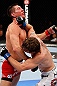 MONTREAL, QC - NOVEMBER 17:  Darren Elkins (white shorts) fights against Steven Siler in their featherweight bout during UFC 154 on November 17, 2012  at the Bell Centre in Montreal, Canada.  (Photo by Josh Hedges/Zuffa LLC/Zuffa LLC via Getty Images)