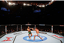 MONTREAL, QC - NOVEMBER 17:  John Makdessi (L) fights against Sam Stout in their lightweight bout during UFC 154 on November 17, 2012  at the Bell Centre in Montreal, Canada.  (Photo by Josh Hedges/Zuffa LLC/Zuffa LLC via Getty Images)