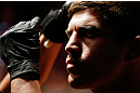 MONTREAL, QC - NOVEMBER 17:  Patrick Cote prepares to fight against Alessio Sakara in their middleweight bout during UFC 154 on November 17, 2012  at the Bell Centre in Montreal, Canada.  (Photo by Josh Hedges/Zuffa LLC/Zuffa LLC via Getty Images)