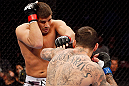 MONTREAL, QC - NOVEMBER 17:  Alessio Sakara (R) fights against Patrick Cote in their middleweight bout during UFC 154 on November 17, 2012  at the Bell Centre in Montreal, Canada.  (Photo by Josh Hedges/Zuffa LLC/Zuffa LLC via Getty Images)