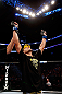 MONTREAL, QC - NOVEMBER 17:  Rafael dos Anjos reacts after defeating Mark Bocek to win their lightweight bout during UFC 154 on November 17, 2012  at the Bell Centre in Montreal, Canada.  (Photo by Josh Hedges/Zuffa LLC/Zuffa LLC via Getty Images)