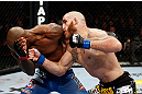 MONTREAL, QC - NOVEMBER 17:  Tom Lawlor (R) trades punches with Francis Carmont during their middleweight bout during UFC 154 on November 17, 2012  at the Bell Centre in Montreal, Canada.  (Photo by Josh Hedges/Zuffa LLC/Zuffa LLC via Getty Images)
