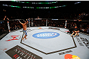 MONTREAL, QC - NOVEMBER 17:  Johny Hendricks (L) reacts after knocking out Martin Kampmann with a left in the first round to win their welterweight bout during UFC 154 on November 17, 2012  at the Bell Centre in Montreal, Canada.  (Photo by Josh Hedges/Zuffa LLC/Zuffa LLC via Getty Images)