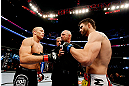 MONTREAL, QC - NOVEMBER 17:  Carlos Condit (R) and Georges St-Pierre prepare to fight in their welterweight title bout during UFC 154 on November 17, 2012  at the Bell Centre in Montreal, Canada.  (Photo by Josh Hedges/Zuffa LLC/Zuffa LLC via Getty Images)