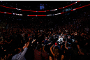 MONTREAL, QC - NOVEMBER 17:  Georges St-Pierre walks into the arena prior to fighting against Carlos Condit for the welterweight title bout during UFC 154 on November 17, 2012  at the Bell Centre in Montreal, Canada.  (Photo by Josh Hedges/Zuffa LLC/Zuffa LLC via Getty Images)