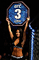 MONTREAL, QC - NOVEMBER 17:   UFC Octagon Girl Arianny Celeste introduces a round during UFC 154 on November 17, 2012  at the Bell Centre in Montreal, Canada.  (Photo by Josh Hedges/Zuffa LLC/Zuffa LLC via Getty Images)
