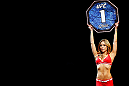 MONTREAL, QC - NOVEMBER 17:  UFC Octagon Girl Brittney Palmer introduces a round during UFC 154 on November 17, 2012  at the Bell Centre in Montreal, Canada.  (Photo by Josh Hedges/Zuffa LLC/Zuffa LLC via Getty Images)