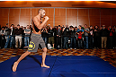 SEATTLE, WA - DECEMBER 05:  Mike Swick works out for fans and media during the UFC on FOX open workouts on December 5, 2012  at the Grand Hyatt Seattle in Seattle, Washington.  (Photo by Josh Hedges/Zuffa LLC/Zuffa LLC via Getty Images)