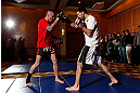 SEATTLE, WA - DECEMBER 05:  Matt Brown works out for fans and media during the UFC on FOX open workouts on December 5, 2012  at the Grand Hyatt Seattle in Seattle, Washington.  (Photo by Josh Hedges/Zuffa LLC/Zuffa LLC via Getty Images)