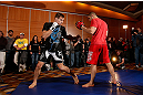 SEATTLE, WA - DECEMBER 05:  Rory MacDonald works out for fans and media during the UFC on FOX open workouts on December 5, 2012  at the Grand Hyatt Seattle in Seattle, Washington.  (Photo by Josh Hedges/Zuffa LLC/Zuffa LLC via Getty Images)