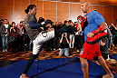 SEATTLE, WA - DECEMBER 05:  Benson Henderson works out for fans and media during the UFC on FOX open workouts on December 5, 2012  at the Grand Hyatt Seattle in Seattle, Washington.  (Photo by Josh Hedges/Zuffa LLC/Zuffa LLC via Getty Images)