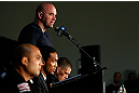SEATTLE, WA - DECEMBER 06:  UFC President Dana White interacts with media during the UFC on FOX press conference on December 6, 2012  at Key Arena in Seattle, Washington.  (Photo by Josh Hedges/Zuffa LLC/Zuffa LLC via Getty Images)