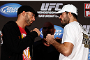 SEATTLE, WA - DECEMBER 06:  (L-R) Opponents Mike Swick and Matt Brown face off during the UFC on FOX press conference on December 6, 2012  at Key Arena in Seattle, Washington.  (Photo by Josh Hedges/Zuffa LLC/Zuffa LLC via Getty Images)
