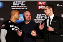 SEATTLE, WA - DECEMBER 06:  Opponents BJ Penn (L) and Rory MacDonald (R) face off as UFC President Dana White looks on during the UFC on FOX press conference on December 6, 2012  at Key Arena in Seattle, Washington.  (Photo by Josh Hedges/Zuffa LLC/Zuffa LLC via Getty Images)