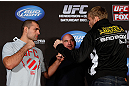 "SEATTLE, WA - DECEMBER 06:  (L-R) Opponents Mauricio ""Shogun"" Rua and Alexander Gustafsson face off during the UFC on FOX press conference on December 6, 2012  at Key Arena in Seattle, Washington.  (Photo by Josh Hedges/Zuffa LLC/Zuffa LLC via Getty Images)"