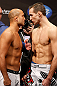 SEATTLE, WA - DECEMBER 07:  (L-R) Opponents BJ Penn and Rory MacDonald face off during the official UFC on FOX weigh in on December 7, 2012 at Key Arena in Seattle, Washington.  (Photo by Josh Hedges/Zuffa LLC/Zuffa LLC via Getty Images)