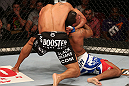 SEATTLE, WA - DECEMBER 08:  Abel Trujillo (black shorts) attempts to submit Marcus LeVesseur during their lightweight bout at the UFC on FOX event on December 8, 2012  at Key Arena in Seattle, Washington.  (Photo by Ezra Shaw/Zuffa LLC/Zuffa LLC via Getty Images) *** Local Caption *** Marcus LeVesseur; Abel Trujillo