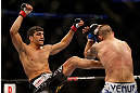 SEATTLE, WA - DECEMBER 08:  (L-R) Ramsey Nijem kicks Joe Proctor during their lightweight bout at the UFC on FOX event on December 8, 2012  at Key Arena in Seattle, Washington.  (Photo by Josh Hedges/Zuffa LLC/Zuffa LLC via Getty Images) *** Local Caption *** Ramsey Nijem; Joe Proctor