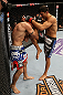 SEATTLE, WA - DECEMBER 08:  Ramsey Nijem (right) knees Joe Proctor during their lightweight bout at the UFC on FOX event on December 8, 2012  at Key Arena in Seattle, Washington.  (Photo by Ezra Shaw/Zuffa LLC/Zuffa LLC via Getty Images) *** Local Caption *** Ramsey Nijem; Joe Proctor