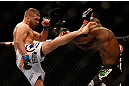 SEATTLE, WA - DECEMBER 08:  (L-R) Jeremy Stephens kicks Yves Edwards during their lightweight bout at the UFC on FOX event on December 8, 2012  at Key Arena in Seattle, Washington.  (Photo by Josh Hedges/Zuffa LLC/Zuffa LLC via Getty Images) *** Local Caption *** Yves Edwards; Jeremy Stephens
