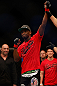 SEATTLE, WA - DECEMBER 08:  Yves Edwards is declared the winner over Jeremy Stephens after their lightweight bout at the UFC on FOX event on December 8, 2012  at Key Arena in Seattle, Washington.  (Photo by Josh Hedges/Zuffa LLC/Zuffa LLC via Getty Images) *** Local Caption *** Yves Edwards; Jeremy Stephens