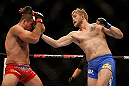 SEATTLE, WA - DECEMBER 08:  (R-L) Alexander Gustafsson punches Mauricio Rua during their light heavyweight bout at the UFC on FOX event on December 8, 2012  at Key Arena in Seattle, Washington.  (Photo by Josh Hedges/Zuffa LLC/Zuffa LLC via Getty Images) *** Local Caption *** Mauricio Rua; Alexander Gustafsson
