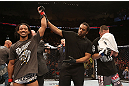 SEATTLE, WA - DECEMBER 08:  Benson Henderson (left) reacts to his victory over Nate Diaz (right) after their lightweight championship bout at the UFC on FOX event on December 8, 2012  at Key Arena in Seattle, Washington.  (Photo by Ezra Shaw/Zuffa LLC/Zuffa LLC via Getty Images) *** Local Caption *** Benson Henderson; Nate Diaz