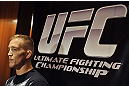LAS VEGAS, NV - DECEMBER 13:  UFC The Ultimate Fighter Finalist Colton Smith speaks to the media during the Ultimate Fighter 16 Finale open workouts at The Joint at the Hard Rock Hotel and Casino on December 13, 2012 in Las Vegas, Nevada.  (Photo by Jeff Bottari/Zuffa LLC/Zuffa LLC)