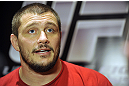 LAS VEGAS, NV - DECEMBER 13:  UFC fighter Matt Mitrione speaks to the media during the Ultimate Fighter 16 Finale open workouts at The Joint at the Hard Rock Hotel and Casino on December 13, 2012 in Las Vegas, Nevada.  (Photo by Jeff Bottari/Zuffa LLC/Zuffa LLC)