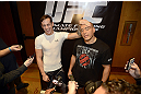 LAS VEGAS, NV - DECEMBER 13:  UFC fighters Mike Ricci (L) and Pat Barry interact in front of the media during the Ultimate Fighter 16 Finale open workouts at The Joint at the Hard Rock Hotel and Casino on December 13, 2012 in Las Vegas, Nevada.  (Photo by Jeff Bottari/Zuffa LLC/Zuffa LLC)