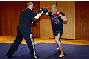 LAS VEGAS, NV - DECEMBER 13:  UFC fighter Pat Barry (R) works out for the media during the Ultimate Fighter 16 Finale open workouts at The Joint at the Hard Rock Hotel and Casino on December 13, 2012 in Las Vegas, Nevada.  (Photo by Jeff Bottari/Zuffa LLC/Zuffa LLC)