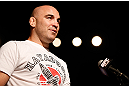 GOLD COAST, AUSTRALIA - DECEMBER 14:  Fellow UFC fighter Brian Ebersole asks a question of Dan Hardy during a Q&amp;A session before the UFC on FX weigh in on December 14, 2012 at Gold Coast Convention and Exhibition Centre in Gold Coast, Queensland, Australia.  (Photo by Josh Hedges/Zuffa LLC/Zuffa LLC via Getty Images)