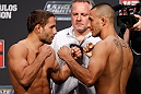 GOLD COAST, AUSTRALIA - DECEMBER 14:  (L-R) Opponents Chad Mendes and Yaotzin Meza face off during the UFC on FX weigh in on December 14, 2012 at Gold Coast Convention and Exhibition Centre in Gold Coast, Queensland, Australia.  (Photo by Josh Hedges/Zuffa LLC/Zuffa LLC via Getty Images)
