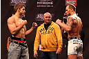 LAS VEGAS, NV - DECEMBER 14:  (L-R) TJ Waldburger and Nick Catone face off as UFC President Dana White looks on during TUF 16 Finale weigh in on December 14, 2012  at the Joint at the Hard Rock in Las Vegas, Nevada.  (Photo by Jim Kemper/Zuffa LLC/Zuffa LLC via Getty Images)