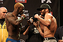 LAS VEGAS, NV - DECEMBER 14:  (L-R) Melvin Guillard and Jamie Varner face off during TUF 16 Finale weigh in on December 14, 2012  at the Joint at the Hard Rock in Las Vegas, Nevada.  (Photo by Jim Kemper/Zuffa LLC/Zuffa LLC via Getty Images)