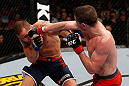 GOLD COAST, AUSTRALIA - DECEMBER 15:  (R-L) Brendan Loughnan punches Mike Wilkinson during their lightweight fight at the UFC on FX event on December 15, 2012  at Gold Coast Convention and Exhibition Centre in Gold Coast, Australia.  (Photo by Josh Hedges/Zuffa LLC/Zuffa LLC via Getty Images)