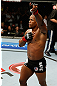 GOLD COAST, AUSTRALIA - DECEMBER 15:  Hector Lombard reacts after knocking out Rousimar Palhares during their middleweight fight at the UFC on FX event on December 15, 2012  at Gold Coast Convention and Exhibition Centre in Gold Coast, Australia.  (Photo by Josh Hedges/Zuffa LLC/Zuffa LLC via Getty Images)