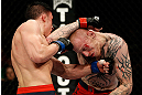 GOLD COAST, AUSTRALIA - DECEMBER 15:  (L-R) Norman Parke punches Colin Fletcher during their lightweight fight at the UFC on FX event on December 15, 2012  at Gold Coast Convention and Exhibition Centre in Gold Coast, Australia.  (Photo by Josh Hedges/Zuffa LLC/Zuffa LLC via Getty Images)