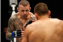 GOLD COAST, AUSTRALIA - DECEMBER 15:  (L-R) Ross Pearson squares off with George Sotiropoulos during their lightweight fight at the UFC on FX event on December 15, 2012  at Gold Coast Convention and Exhibition Centre in Gold Coast, Australia.  (Photo by Josh Hedges/Zuffa LLC/Zuffa LLC via Getty Images)