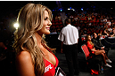 GOLD COAST, AUSTRALIA - DECEMBER 15:  UFC Octagon Girl Kristie McKeon prepares to introduce a round during the UFC on FX event on December 15, 2012  at Gold Coast Convention and Exhibition Centre in Gold Coast, Australia.  (Photo by Josh Hedges/Zuffa LLC/Zuffa LLC via Getty Images)