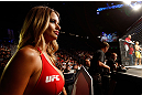 GOLD COAST, AUSTRALIA - DECEMBER 15:  UFC Octagon Girl Kahili Blundell prepares to introduce a round during the UFC on FX event on December 15, 2012  at Gold Coast Convention and Exhibition Centre in Gold Coast, Australia.  (Photo by Josh Hedges/Zuffa LLC/Zuffa LLC via Getty Images)