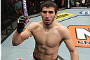 LAS VEGAS, NV - DECEMBER 15:  Rustam Khabilov reacts to his knockout victory over Vinc Pichel after their lightweight fight at the TUF 16 Finale on December 15, 2012  at the Joint at the Hard Rock in Las Vegas, Nevada.  (Photo by Jim Kemper/Zuffa LLC/Zuffa LLC via Getty Images) *** Local Caption *** Vinc Pichel; Rustam Khabilov