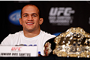 LAS VEGAS, NV - DECEMBER 27:  UFC heavyweight champion Junior dos Santos interacts with media during the final UFC 155 pre-fight press conference on December 27, 2012 at MGM Grand in Las Vegas, Nevada. (Photo by Josh Hedges/Zuffa LLC/Zuffa LLC via Getty Images)