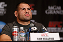 LAS VEGAS, NV - DECEMBER 27:  Cain Velasquez interacts with media during the final UFC 155 pre-fight press conference on December 27, 2012 at MGM Grand in Las Vegas, Nevada. (Photo by Josh Hedges/Zuffa LLC/Zuffa LLC via Getty Images)