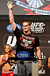 LAS VEGAS, NV - DECEMBER 28:  Todd Duffee waves to the crowd during the UFC 155 weigh-in on December 28, 2012 at MGM Grand Garden Arena in Las Vegas, Nevada. (Photo by Josh Hedges/Zuffa LLC/Zuffa LLC via Getty Images)